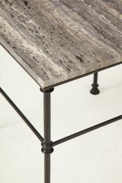 A pair of custom made tables bronze legs and Bleu Oc an color travertine top  - 1758213