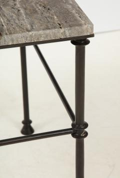 A pair of custom made tables bronze legs and Bleu Oc an color travertine top  - 1758216
