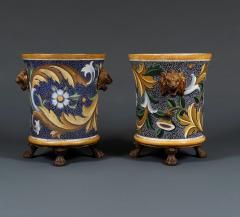 A pair of enamel painted cast iron jardiniers - 929520