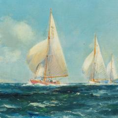 A pair of oil paintings of Clyde One Design yachts racing by Frank Henry Mason - 1837990