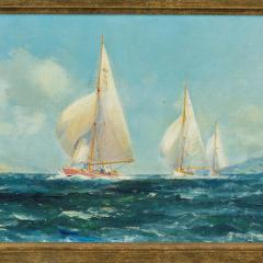 A pair of oil paintings of Clyde One Design yachts racing by Frank Henry Mason - 1837991