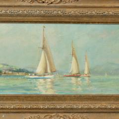 A pair of oil paintings of Clyde One Design yachts racing by Frank Henry Mason - 1837996
