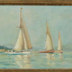 A pair of oil paintings of Clyde One Design yachts racing by Frank Henry Mason - 1837997