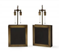 A pair of square shaped lamps made of ardoise cliv e and a bronze frame  - 1939620