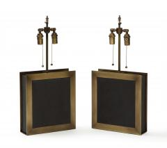 A pair of square shaped lamps made of ardoise cliv e and a bronze frame  - 1939621