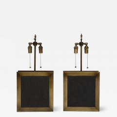 A pair of square shaped lamps made of ardoise cliv e and a bronze frame  - 1940514
