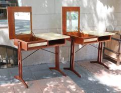 A pair of teak and lacquered parchment desks Italy 60 - 1016236
