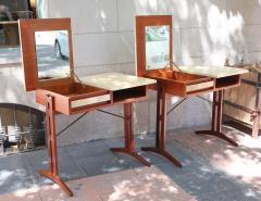 A pair of teak and lacquered parchment desks Italy 60 - 1016237
