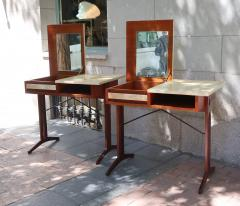 A pair of teak and lacquered parchment desks Italy 60 - 1016242