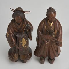 A pair of very finely carved Japanese wood figures 1868 1912  - 1800048