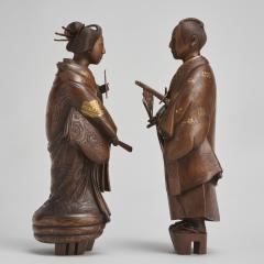 A pair of very finely carved Japanese wood figures 1868 1912  - 1800049