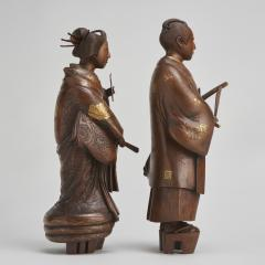 A pair of very finely carved Japanese wood figures 1868 1912  - 1800050
