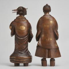 A pair of very finely carved Japanese wood figures 1868 1912  - 1800051