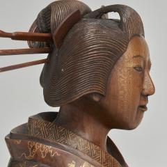 A pair of very finely carved Japanese wood figures 1868 1912  - 1800060