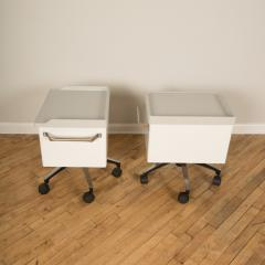 A pair of white and blue two drawers side cabinets on rolling base 1970s - 2129095