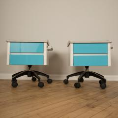 A pair of white and blue two drawers side cabinets on rolling base 1970s - 2129098
