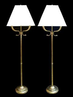A Quality Pair Of French 1940 S Empire Style Brass 2 Arm Floor Lamps