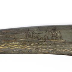 A rare scrimshaw decorated horn - 1208952