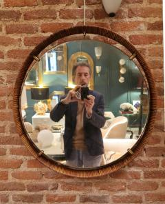 A rattan and brass wall mirror Italy 50 - 776611