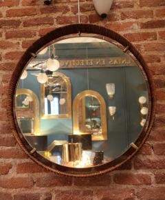 A rattan and brass wall mirror Italy 50 - 776612