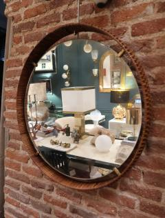 A rattan and brass wall mirror Italy 50 - 776613