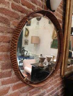 A rattan and brass wall mirror Italy 50 - 776615