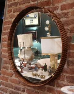 A rattan and brass wall mirror Italy 50 - 776616