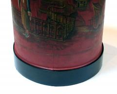 A robust pair of English chinoiserie style red painted tole lamps - 967749
