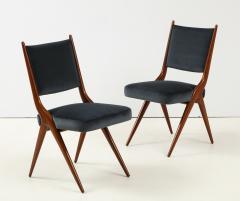 A set of Six mid century modern dining chairs Solid Italian Walnut  - 1505170