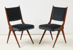 A set of Six mid century modern dining chairs Solid Italian Walnut  - 1505171