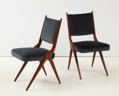 A set of Six mid century modern dining chairs Solid Italian Walnut  - 1505172
