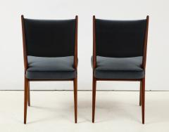 A set of Six mid century modern dining chairs Solid Italian Walnut  - 1505177