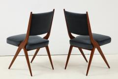 A set of Six mid century modern dining chairs Solid Italian Walnut  - 1505178