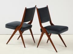 A set of Six mid century modern dining chairs Solid Italian Walnut  - 1505179