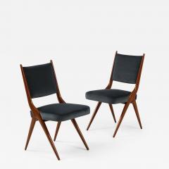 A set of Six mid century modern dining chairs Solid Italian Walnut  - 1509569