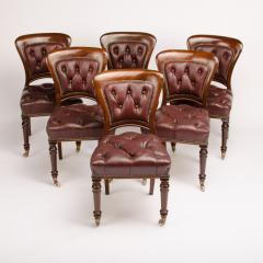 A set of six 19th Century Irish walnut and leather dining chairs - 1660910