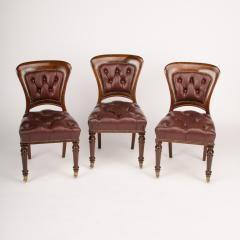 A set of six 19th Century Irish walnut and leather dining chairs - 1660914