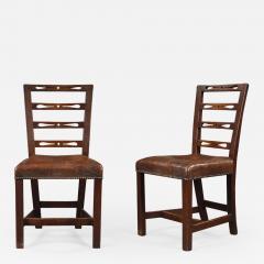 A set of six George III oak dining chairs - 931352