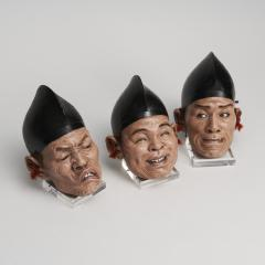 A set of three Japanese Iki Ningyo masks - 1290676