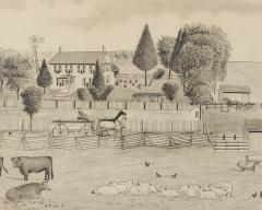A signed Portrait of a Doylestown Ohio Farm by Edward Lewis Ott - 1571040