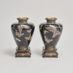 A stunning pair of Japanese Cloisonn vases - 1269858