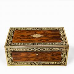 A superb William IV brass inlaid kingwood writing box by Edwards - 1707013