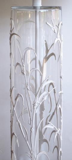 A unique American pair of cylindrical glass lamps with applied bamboo decoration - 55106