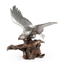 A very large and imposing Meiji period silvered bronze eagle - 1051362