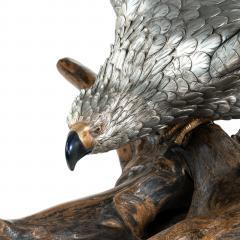 A very large and imposing Meiji period silvered bronze eagle - 1051364