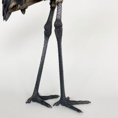 A wonderful life size silvered bronze Okimono of a red crowned Crane - 1510481
