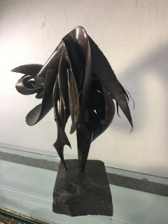 ABSTRACT BRUTALIST SCULPTURE WITH BLACK SLATE BASE - 678845