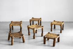 AFRICAN LEATHER STOOLS - 1398054