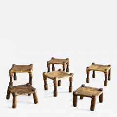 AFRICAN LEATHER STOOLS - 1401600