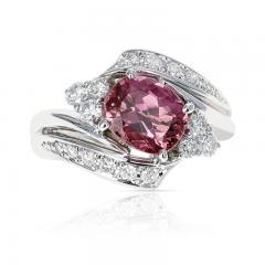 AGL CERTIFIED 2 17 CT NATURAL IMPERIAL PINK TOPAZ RING WITH DIAMONDS PLATINUM - 2086682